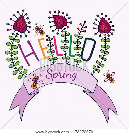 Hello Spring lettering with flower and bee. Hand drawn phrase for card invitation posters texture backgrounds placards banners.