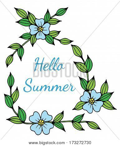 Hello Summer blue lettering with flower. Phrase for card invitation posters texture backgrounds placards banners.