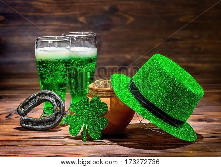 St Patricks Day With Glasses Of Green Beer, Leaf Clover, Leprechaun Hat, Horseshoe And Pot Full Gold