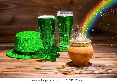 St Patricks Day Concept With Glasses Of Green Beer, Shamrock, Leprechaun Hat, Pot Full Gold Coins, S
