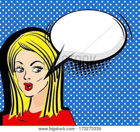 Blank comic speech bubble phrase. Comics style. Vector illustration. Surprised attractive pop art blonde girl with long hair empty comic balloon. Pin up woman with sensual sexy red lips talking.