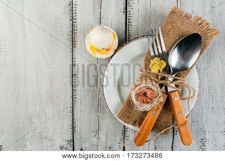 Spring Easter White Wooden Table Setting