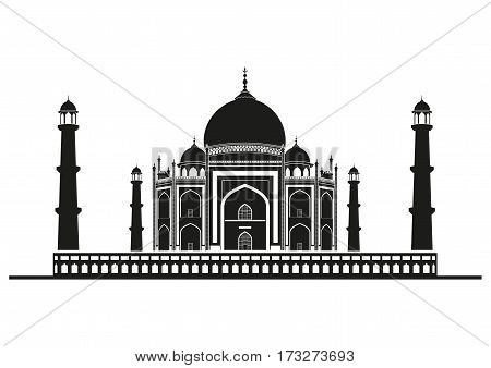 Silhouette of The Taj Mahal Indian temple.