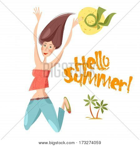 Happy young smiling woman jumping in an air. Hello summer! Vector illustration