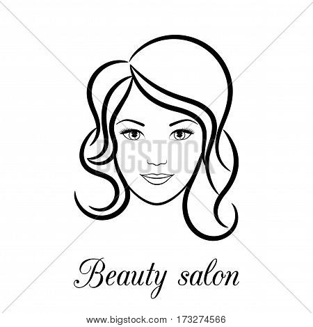 Contour logo for beauty salon with female face