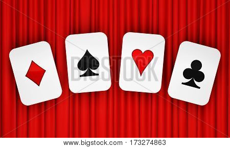 Card symbols on background of red curtain. 3D rendering
