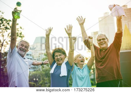 Photo Gradient Style with Senior Adult Teamwork Hands Together