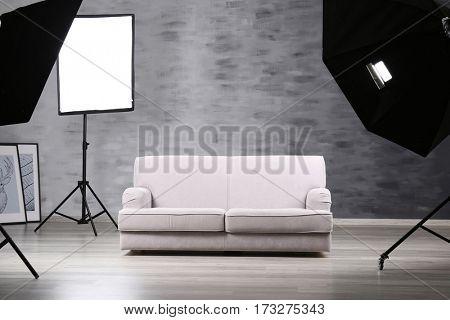 Photo studio with lightning equipment