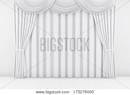 white curtain or drapes background scene. 3d rendering