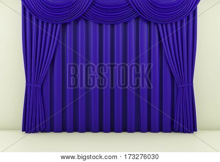 blue curtain or drapes background scene. 3d rendering