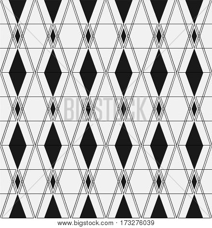 Seamless background. Infinitely repeating pattern of rhombus and squares on a monochrome background. Raster illustration.