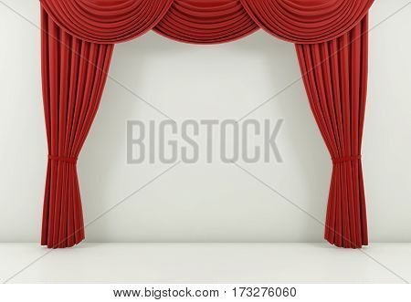 red curtain or drapes background scene. 3d rendering