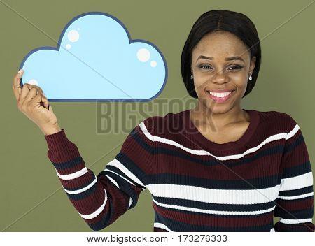 Woman Holding Cloud Computing Papercraft Icon