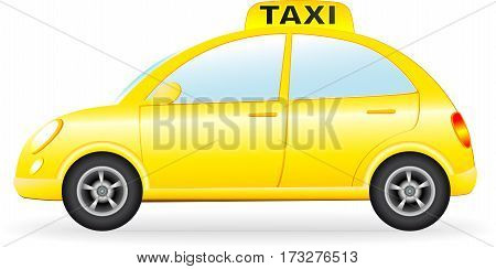 Isolated Retro Taxi Car