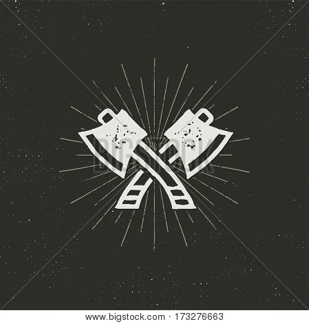 Two crossed axes vector illustration. Silhouette style. Textured lumberjack symbol. Simple design, letterpress effect. Isolated on dark background.