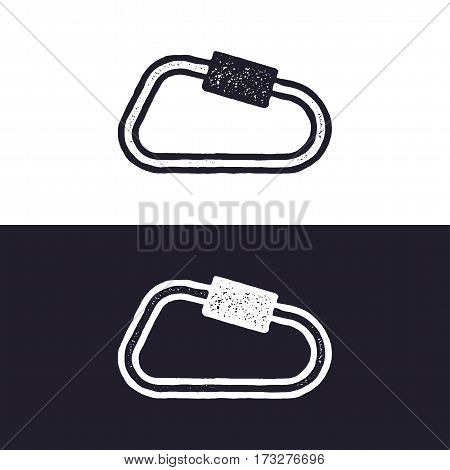 carabiner icon isolated on white background. Letterpress effect. Vector adventure pictogram. Isolated on white and dark backgrounds.