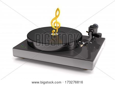 Vinyl turntable with gold treble clef on white background (3d illustration).