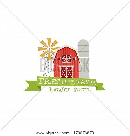 Fresh from the Farm concept logo. Template with farm landscape, windmill. Label for natural farm products. Colorful logotype isolated on white background. Vector illustration