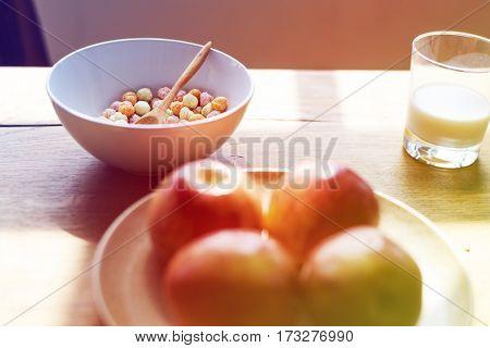 Apples Cereal Bowl Milk for Breakfast