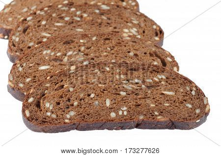 rye bread sliced closeup isolated on white baskground.