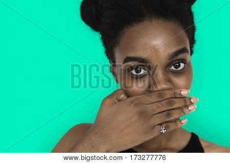 African Woman Hand Cover Mouth