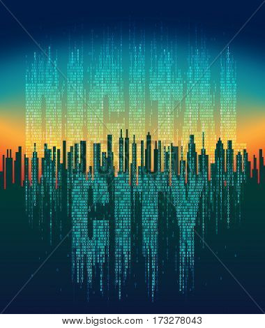 The digital city. Abstract futuristic city, life in the virtual space, high-tech background. Network digital technology concept, cloud service