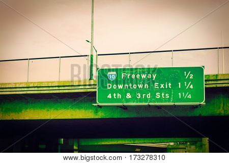 Freeway 10 sign in downtown Los Angeles California