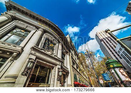 San Francisco CA USA - October 30 2016: Wells Fargo bank in financial district