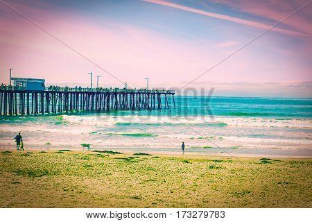 Pismo Beach pier in pulp effect California