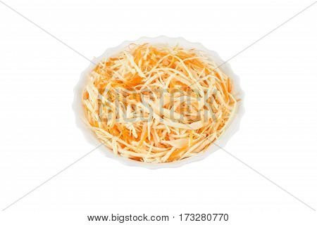 fresh grated cabbage and carrot in the plate isolated on white background