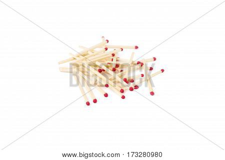 colorful matches are isolated on white background