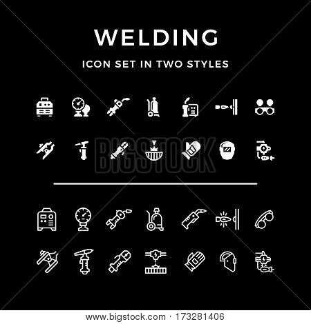 Set icons of welding in two styles isolated on black. Vector illustration