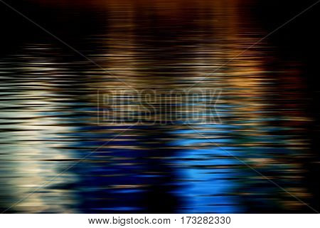 Abstract reflections on the smooth water surface of a river.