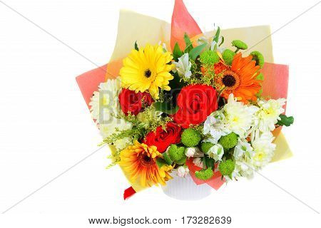bouquet of colourful flowers isolated in white background