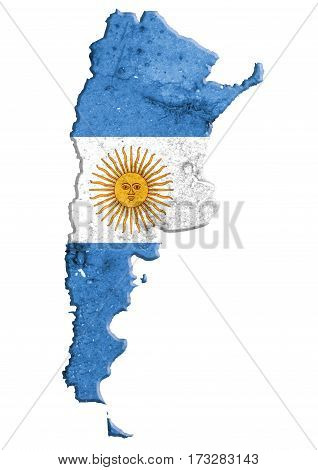 Argentina Map With National Flag.