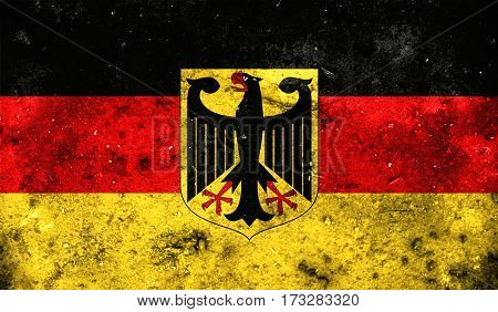 Germany Flag On Old Background Retro Effect
