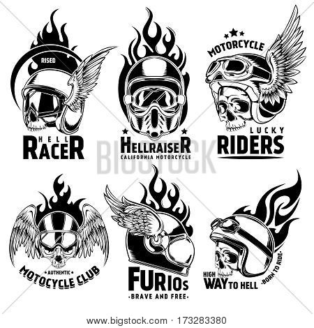 Fiery motorcycle skull helmet logos set with wings and  typographic inscriptions in vintage style isolated vector illustration
