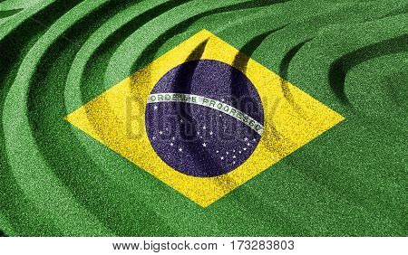 Brazilian Flag In The Old Retro Background Effect