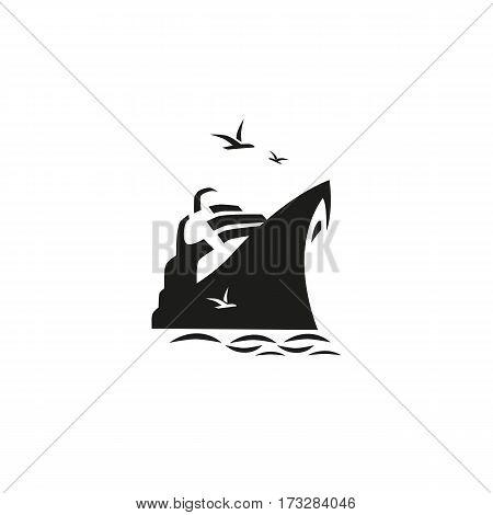 Nautical symbol concept. Ocean liner icon. Freehand brush style. Monchrome black white colors. Maritime sea cruise ship vessel tour emblem. Vector seashore journey background. Marine logo template