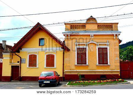 Typical house in the village Codlea, Transylvania, Romania.