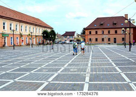 Typical urban landscape of the village Codlea, Transylvania, Romania.