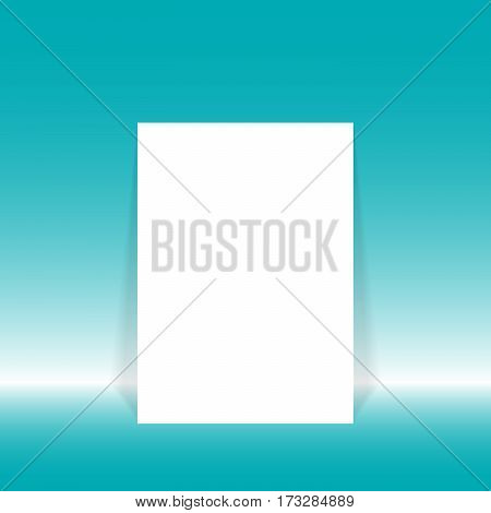 Vector illustration blank white poster in white blue studio room for mock up for display of your content or products