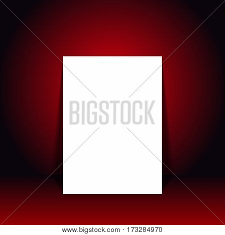 Vector illustration blank white poster in red black studio room for mock up for display of your content or products
