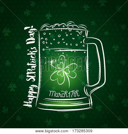 Green card for St. Patrick's Day with beer mug and shamrock vector illustration.