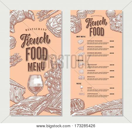 French food restaurant menu vintage template with main meals cheese dishes and alcohol drink vector illustration