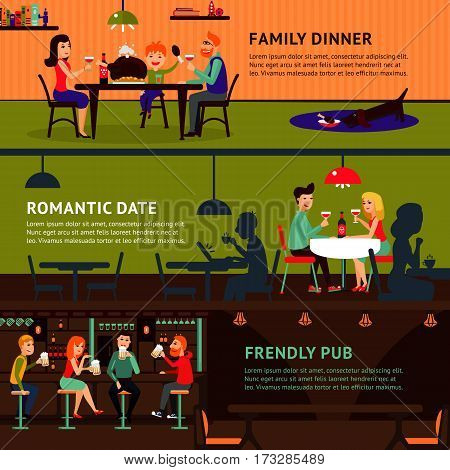 Eating people horizontal banners with family couple friends sitting and talking at home in restaurant and pub vector illustration