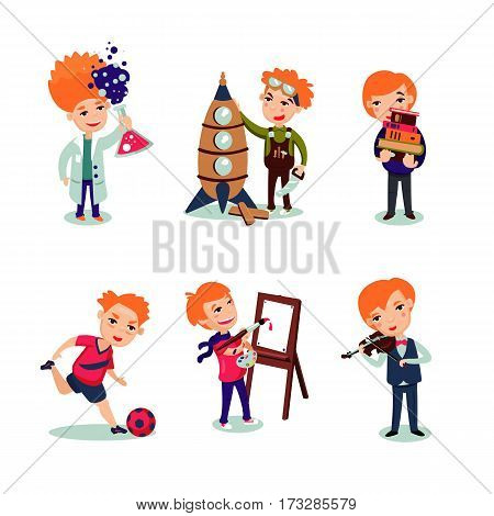 Boys hobbies collection with scientific engineering painting musical and sport interests isolated vector illustration
