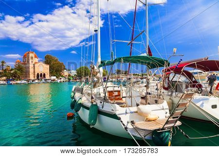 Sailing in beautiful Greek islands - charming tranquil Aegina, Saronics