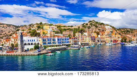 Amazing Greece - panoramic view of colorful Symi island, Dodecanesse