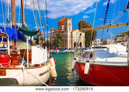 Sailing in beautiful Greek islands- charming Aegina, Saronics